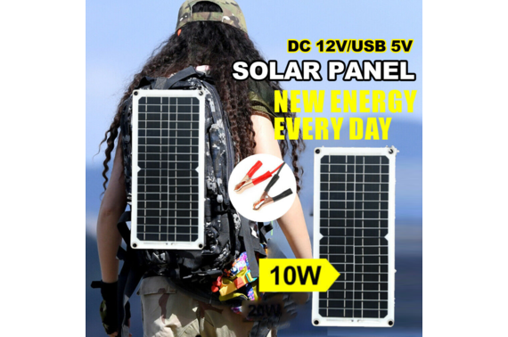 10W Solar Panel 12V 5V USB Weatherproof Battery Car Charger Camping Home