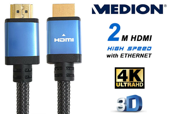 MEDION 2M Gold-Plated Premium HDMI Cable 4K HD 3D High Speed