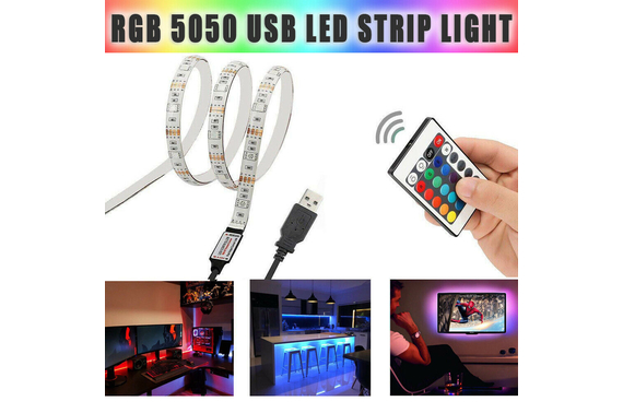 5M RGB 5050 USB LED Strip Light Colour Changing+24key Remote
