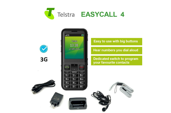 Telstra ZTE EasyCall 4 T403 3G Mobile Phone Blue Tick Big Buttons 2.5